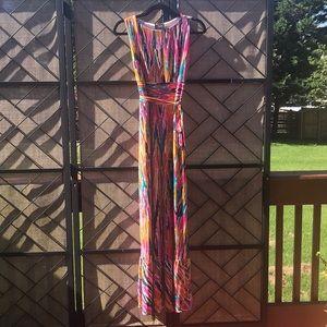 NWOT Just Taylor Colorful Maxi Dress w/ Ruffle Hem